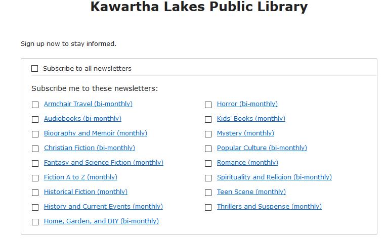 Virtual Programs Kawartha Lakes Public Library
