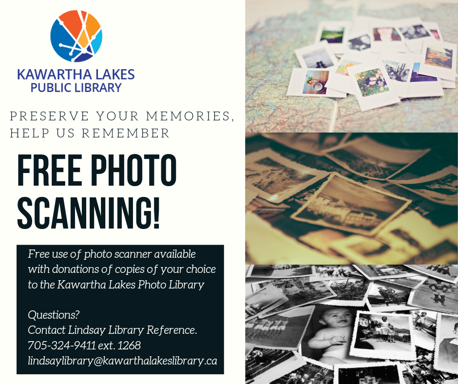 Old photos shown with information about Library's photo scanning service