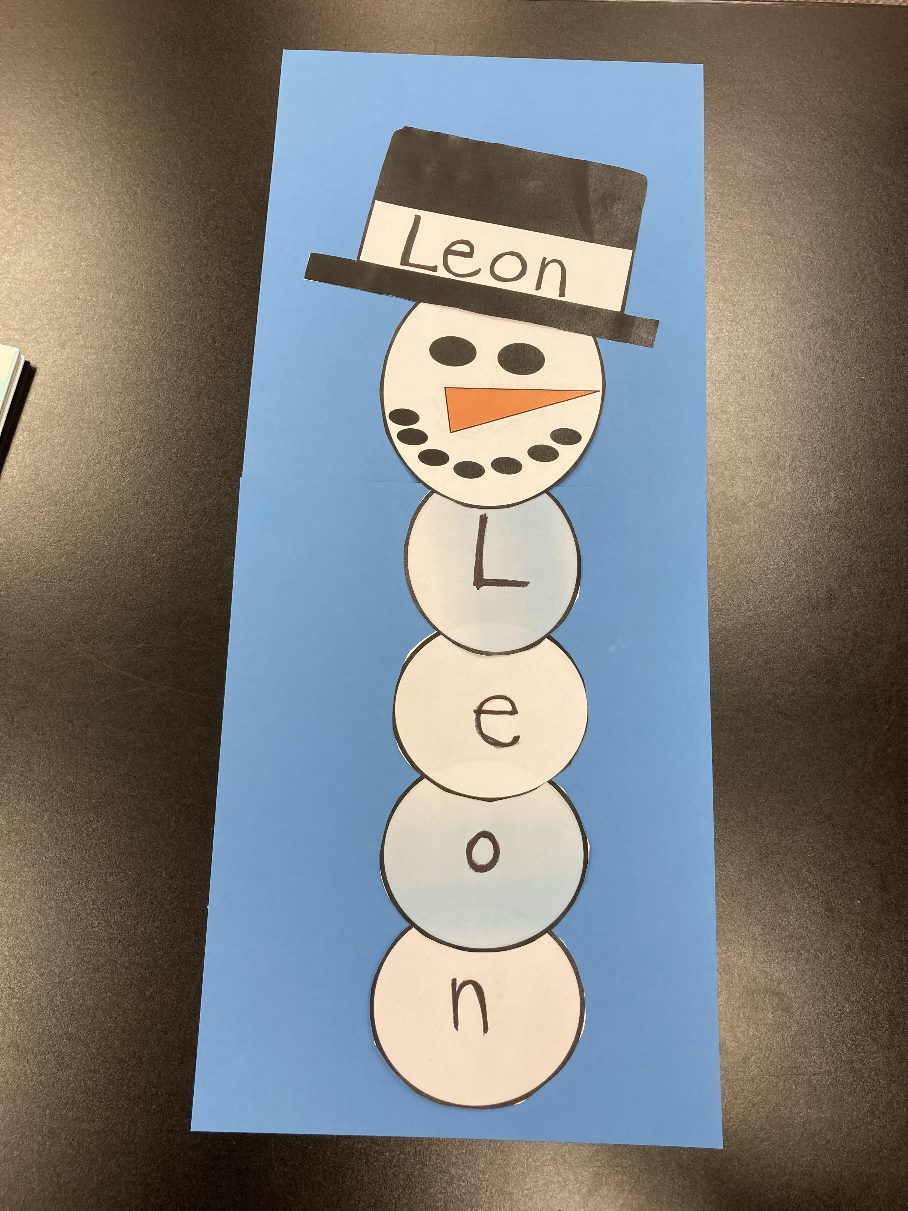 Image of Snowman with letters on body
