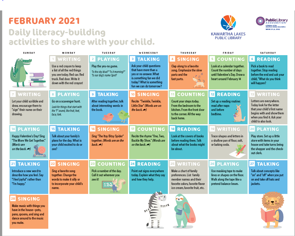 Click here to get a printable copy of February Calendar Front