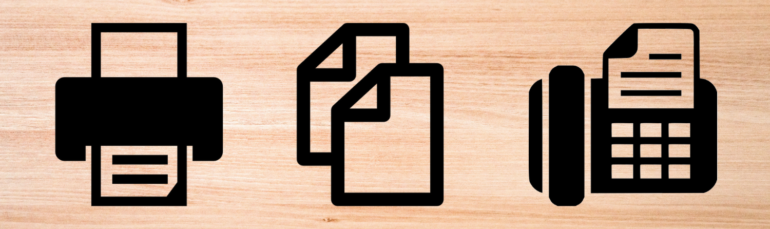 Symbols for printing, copying and faxing on a pale wood background